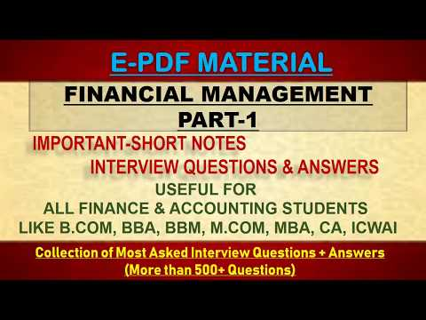 FINANCIAL MANAGEMENT-PART-1 INTERVIEW QUESTIONS & ANSWERS