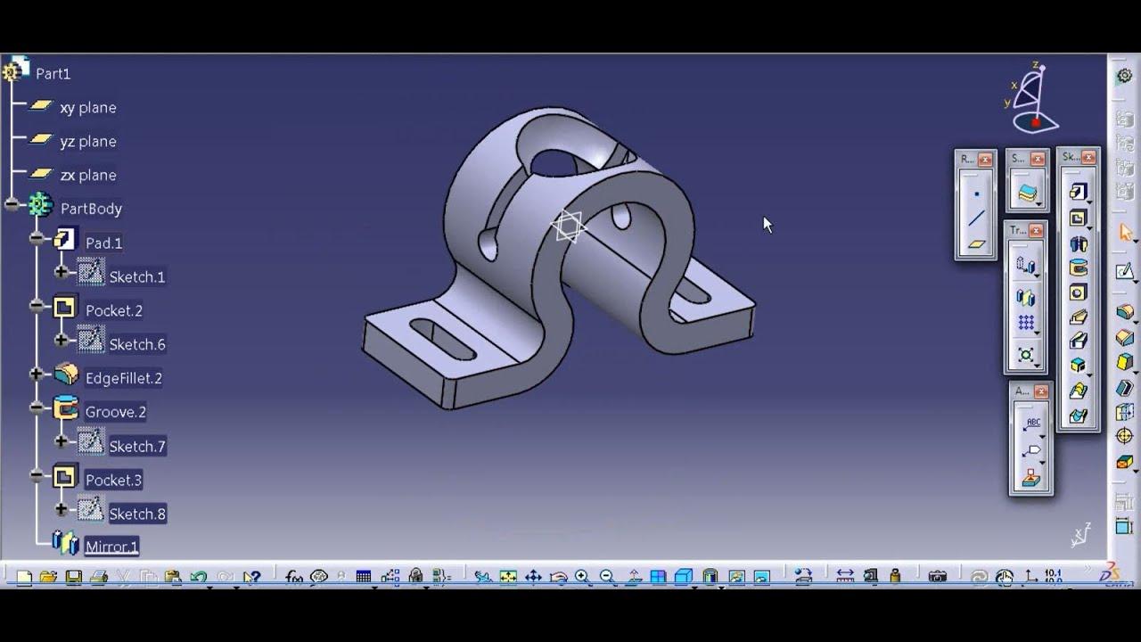 How to create a mechanical part using CATIA Part Design 2