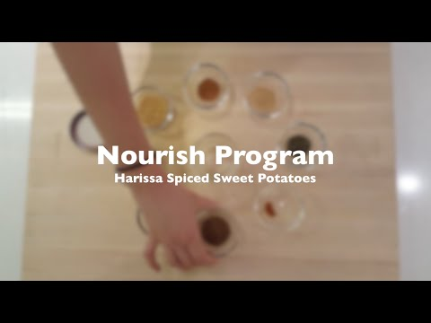 Thumbnail to launch Harissa Spiced Sweet Potatoes: Nourish Program video