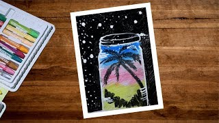 Creative Scenery Drawing With Oil Pastel | Oil Pastel Drawing For Beginners