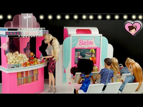 Elsa & Anna Go to The Barbie Movie Theather with Chelsea - Barbie Doll Cinema Toy