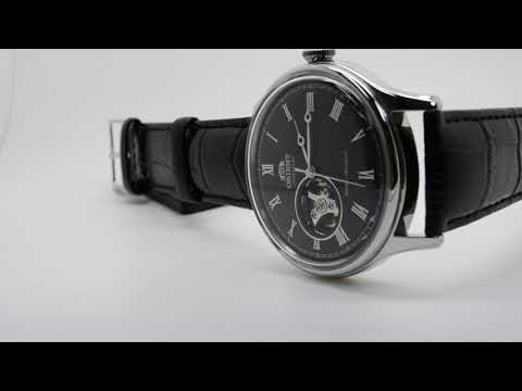 ORIENT OPEN HEART FAG00003B0 AUTOMATIC BLACK LEATHER BAND MEN'S WATCH