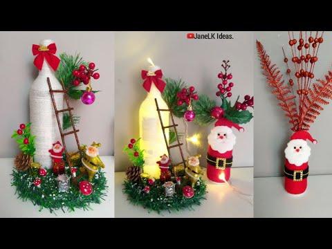 Botellas De Vidrio Decoradas Para Navidad Manualidades Navideñas Con Reciclaje