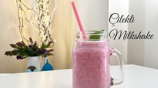 Ev Yapımı Çilekli Milkshake - Pratik İçecek Tarifi / Pratik Tarif / Tatlı Tarifi - Melis'in Mutfağı