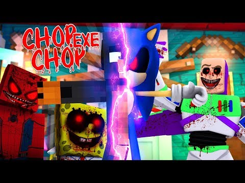 Minecraft .EXE CHOP CHOP - DONUT TURNS INTO SONIC.EXE & CHOPS UP BABY MAX & BABY DUCK!!