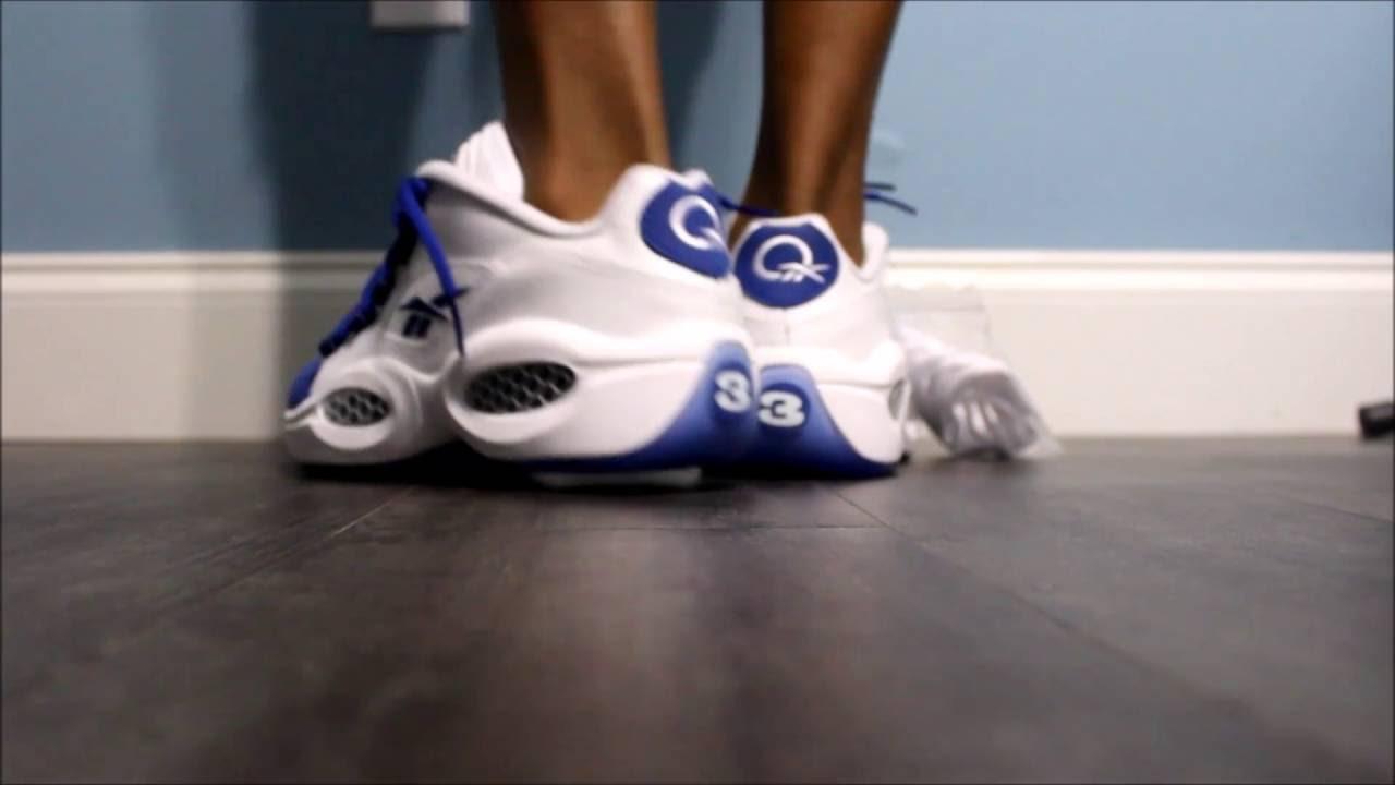 Reebok Question Low Blue Toe On Foot Gs Youtube