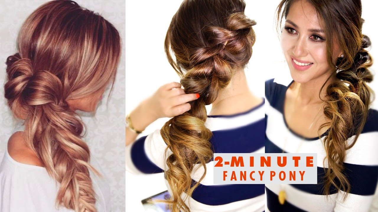 2 minute fancy pony braid hairstyle easy school hairstyles youtube