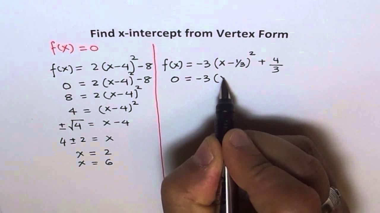X Intercept From Vertex Form - YouTube