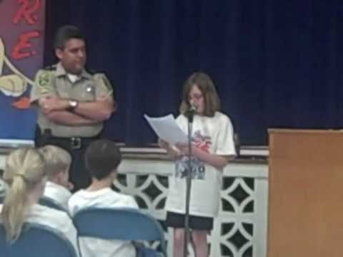Bethany Reads her winning DARE Essay at Seaford Elementary School, 2010