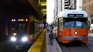 San Francisco Municipal Railway Light Rail & Streetcar Action In Downtown San Francisco, California