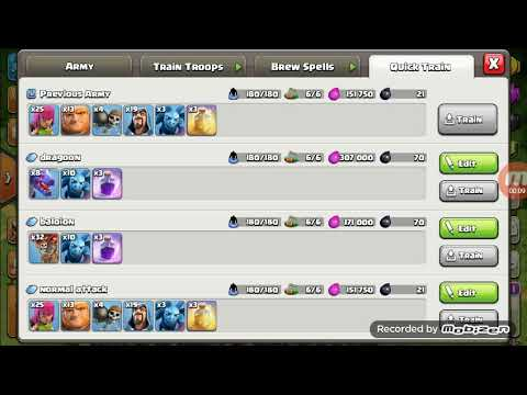 Best Army For Th 8 And Th7 In 180 Troop Capacity Youtube