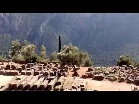 Temple of Athena and tholos at Delphi.
