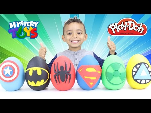 Spiderman Marvel Avengers & Justice League Superhero Play Doh Eggs