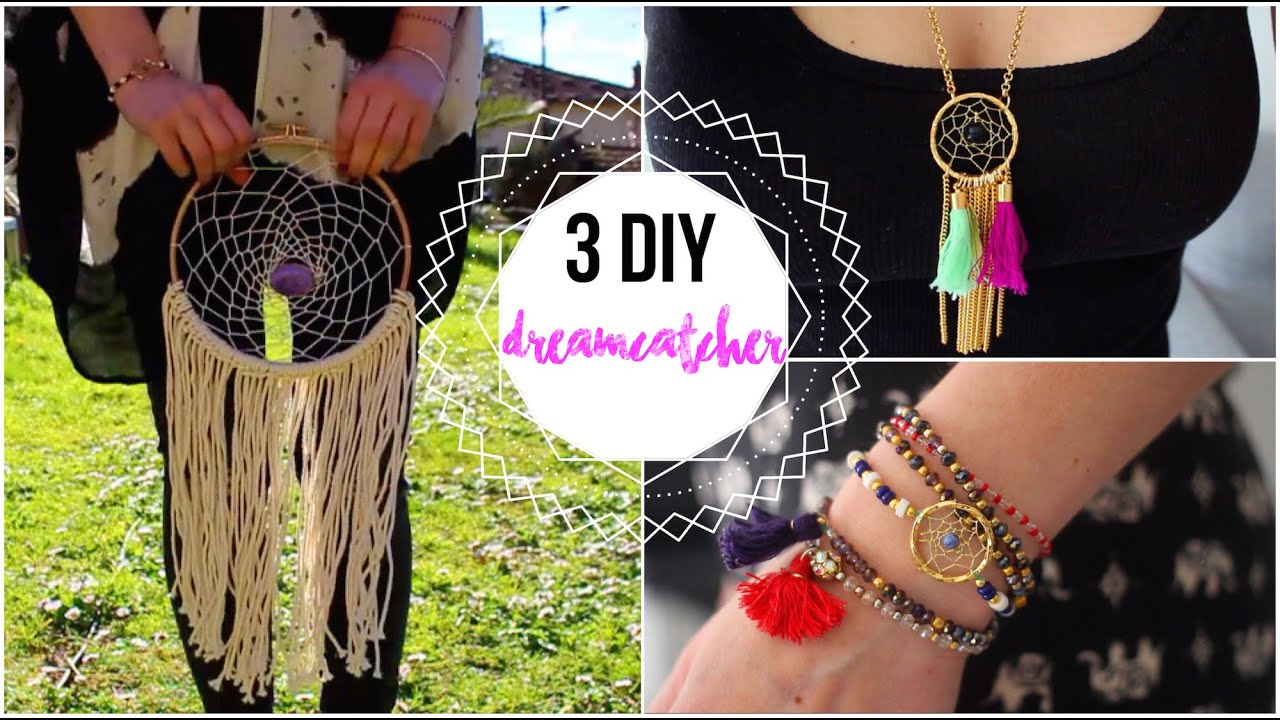 Diy deco attrape reves et bracelet collier dreamcatcher diy francais youtube - Diy attrape reve ...