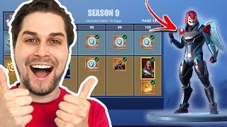 Buy all 100 Tiers from Season 9 Fortnite! 😱🎉-Battlepass Overview
