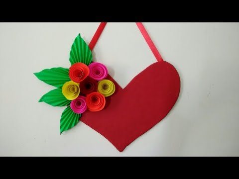 Diy Heart Wall Hangings With Paper Flower Valentine S Day Room Decor