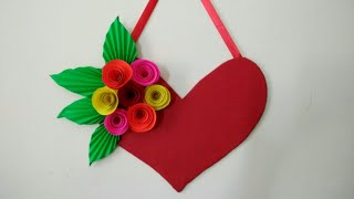 DIY Heart Wall Hangings With Paper Flower/Valentine's day room decor ideas/Making Paper rose/Heart