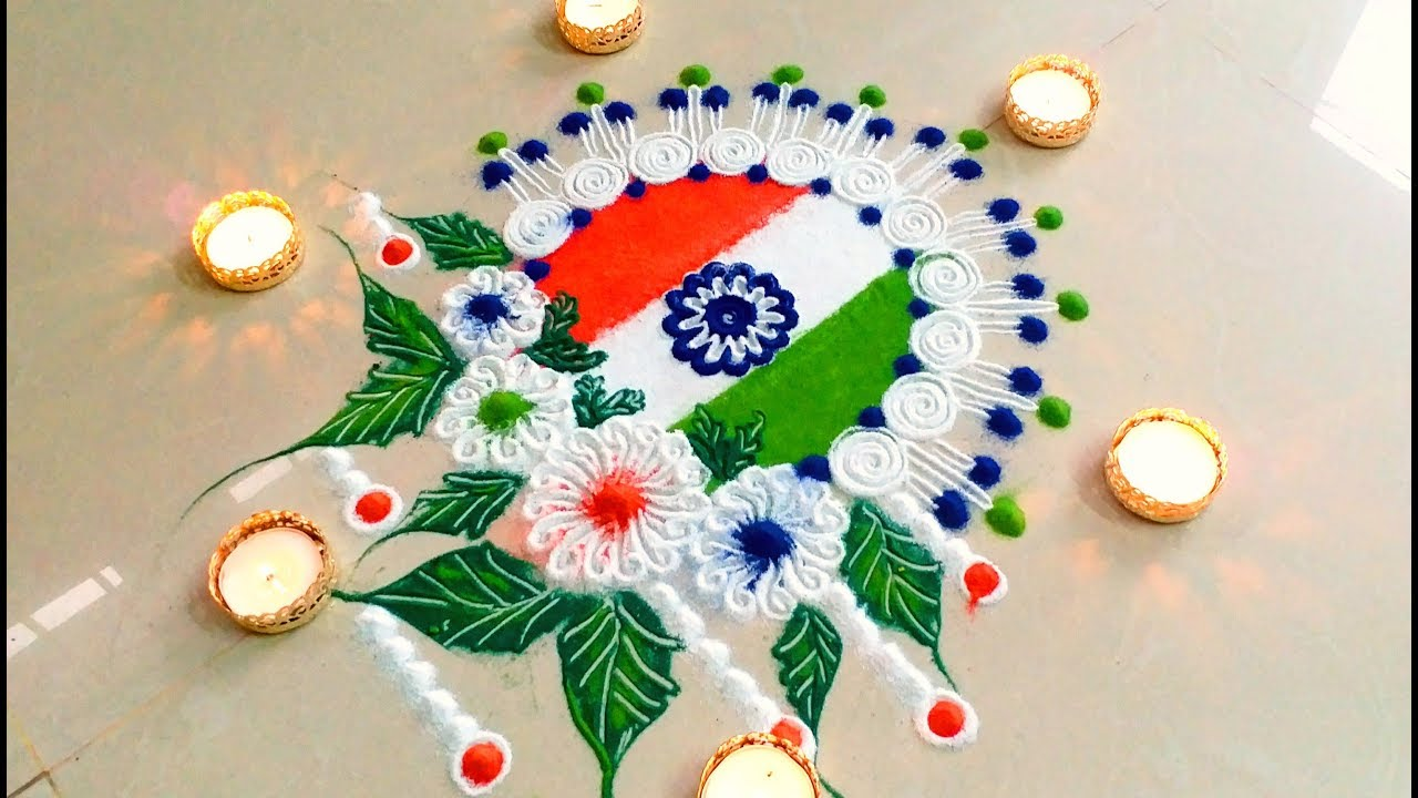 Happy Independence Day 2018 Special Rangoli Designs With Colours For Competition Youtube