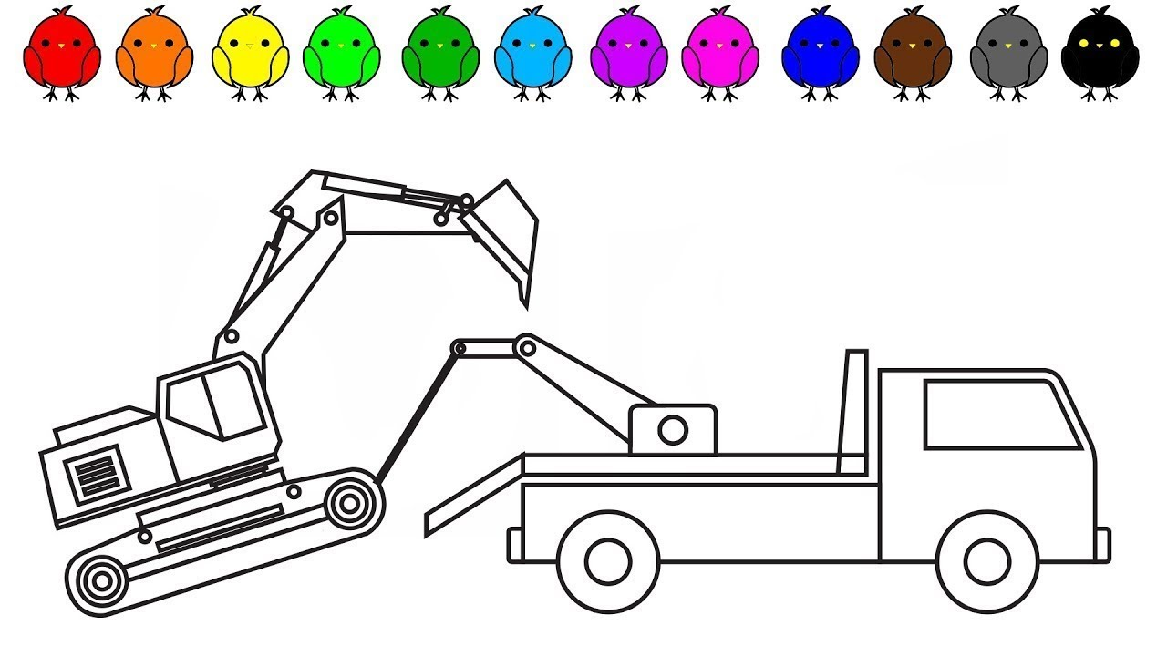 Learn Colors For Kids With Tow Truck And Excavator Coloring Pages Construction Truck By Dt Kids Youtube