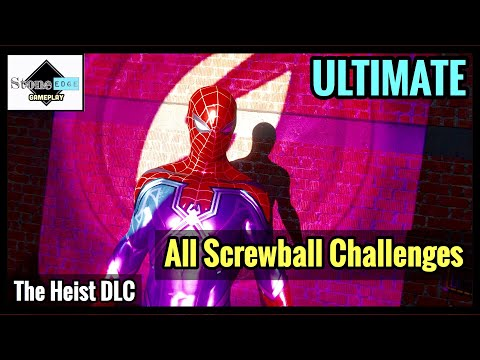 Spider-Man PS4 [CTNS: The Heist DLC] - SCREWY TROPHY - All Screwball Challenges ULTIMATE