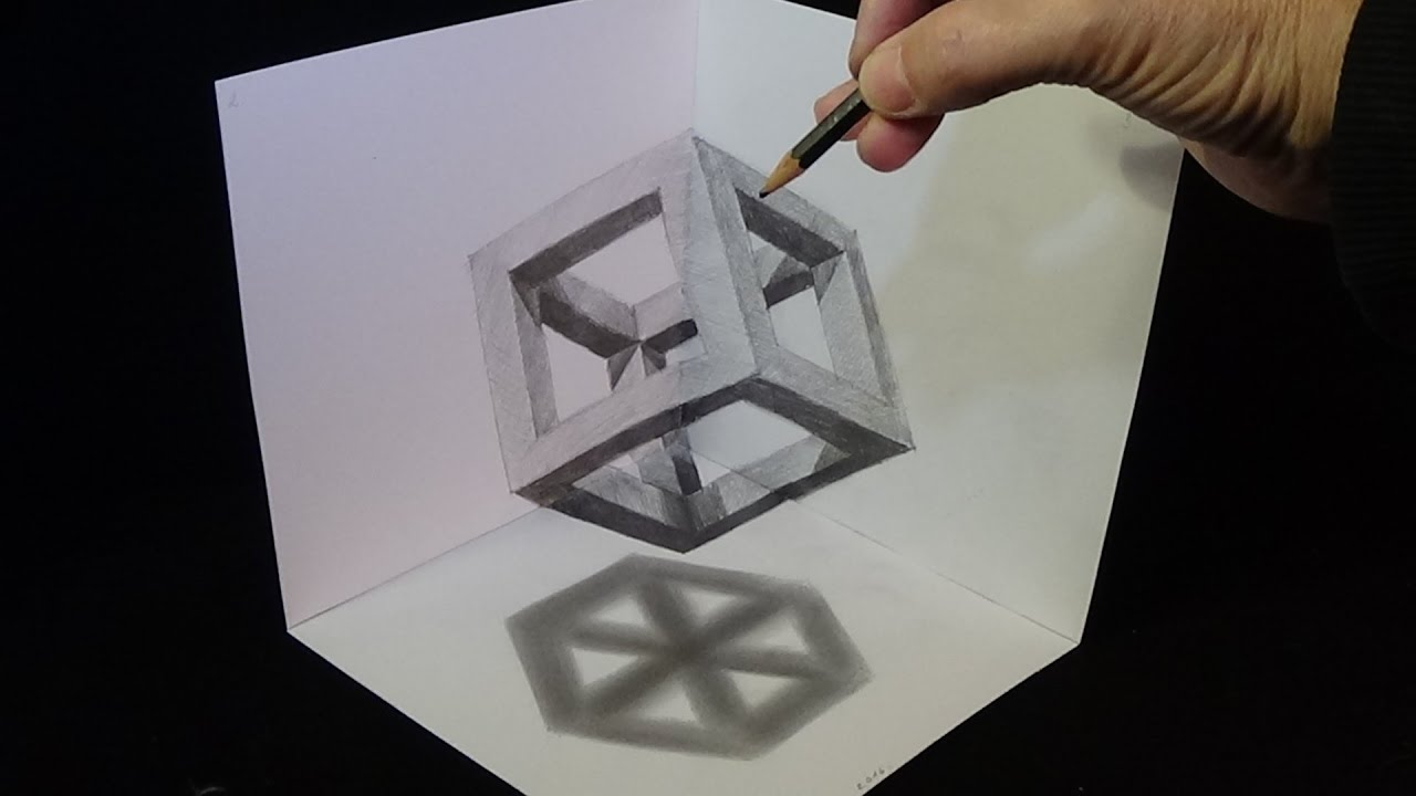 3d drawing cube with pencil corner art youtube