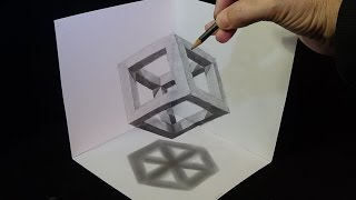 3D Drawing Cube with Pencil - Corner Art