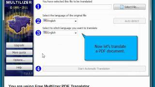How to use Free Multilizer PDF Translator - Quick Guide(Multilizer PDF Translator is an easy-to-use tool for everyone who wants to translate PDF documents automatically. This video demonstrates the complete ..., 2011-12-02T13:54:10.000Z)