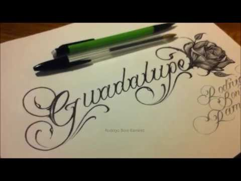 Custom Chicano Cursive Tattoo Lettering Guadalupe And Rose