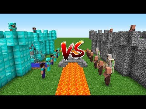 Minecraft Battle: Noob And Pro Castle VS Villager Castle