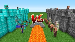 Minecraft Battle: Noob and Pro Castle VS Villager Castle