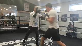 Josh Warrington Pad Work At Hattons Gym