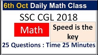 #ssc cgl math daily class I speed is the key for success
