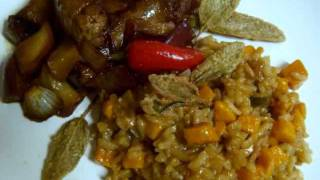 Sweet Potato Risotto And Sausage With Apples And Onions