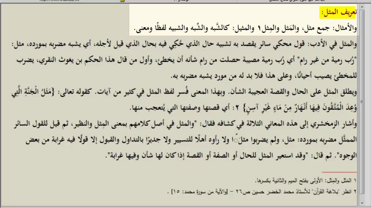 تعريف أمثال القرآن الحلقة 1 Youtube