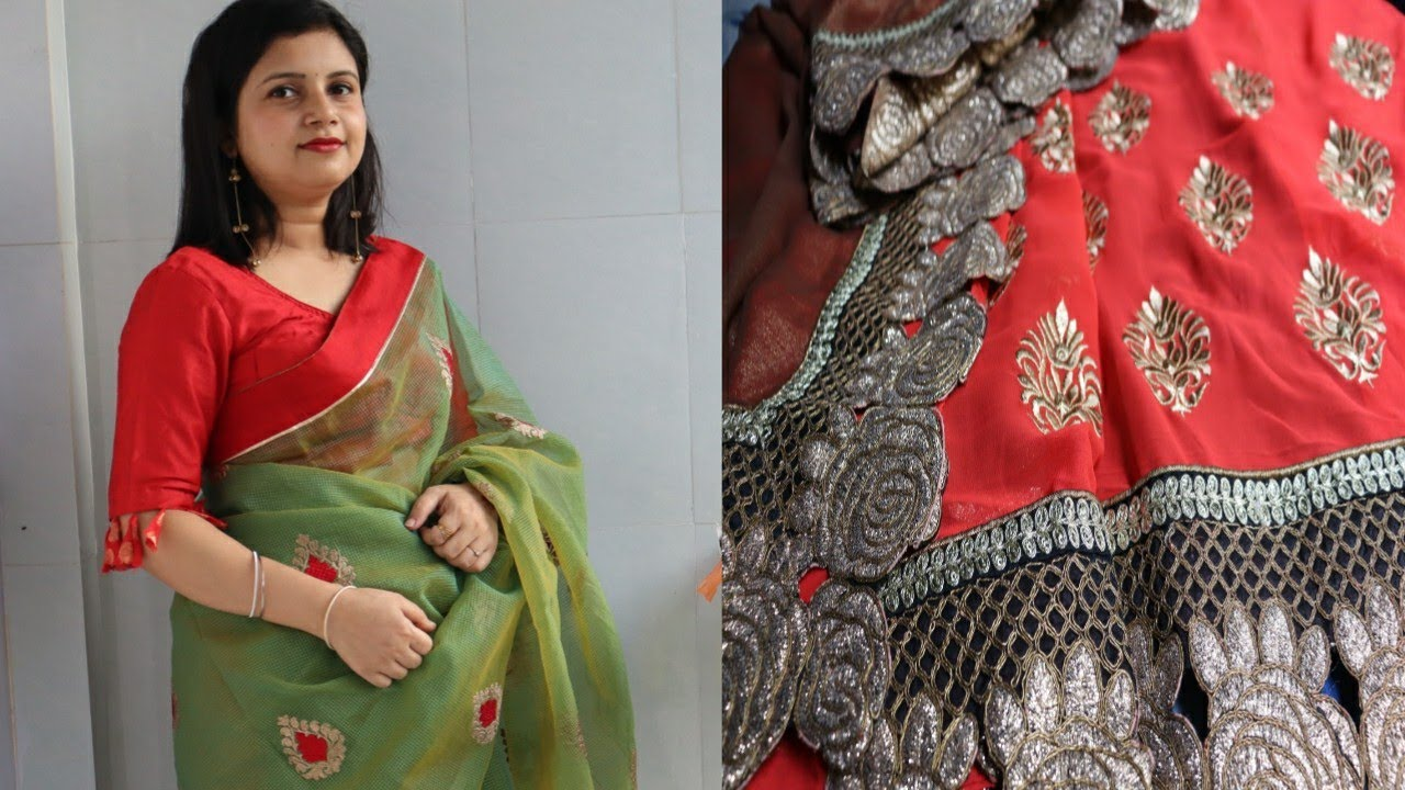 घर पर बनाएं designer saree    How to make designer saree at home   Saree blouse collection