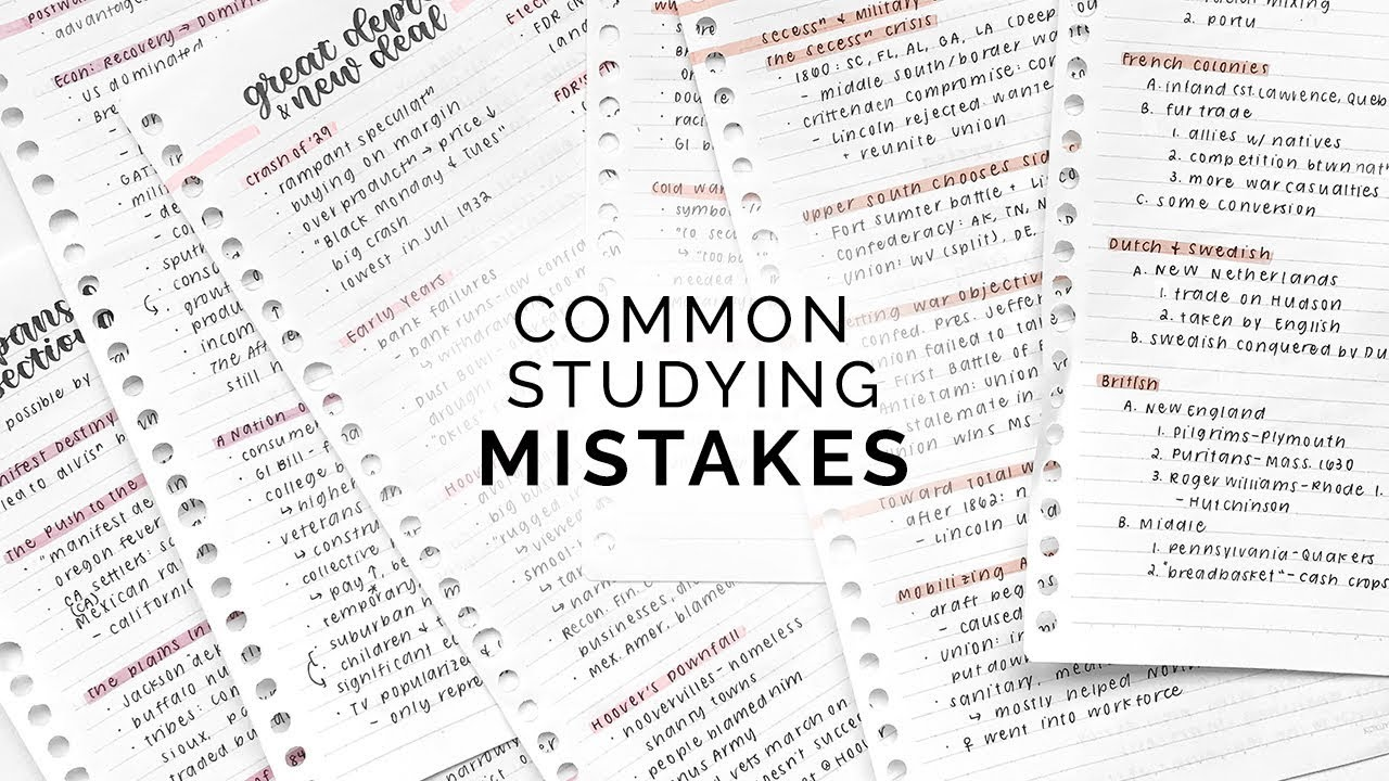 Studying Mistakes & How to Avoid Them