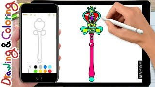 sailor moon wand | 세일러문 마술봉 그리기 | Learn Drawing & Coloring - Coloring Pages for kids