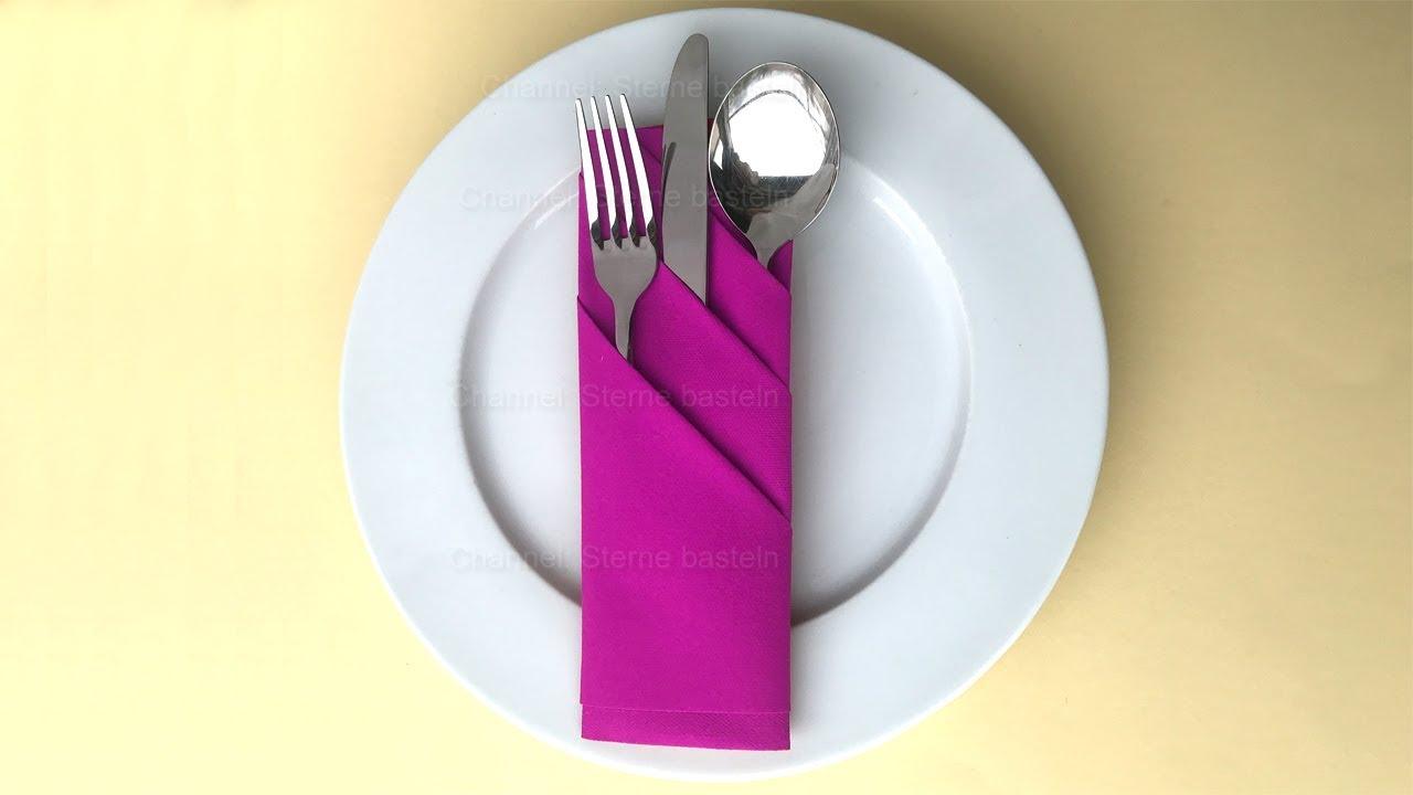 Servietten falten: Bestecktasche falten - Tischdeko selber machen. z.B. Hochzeit