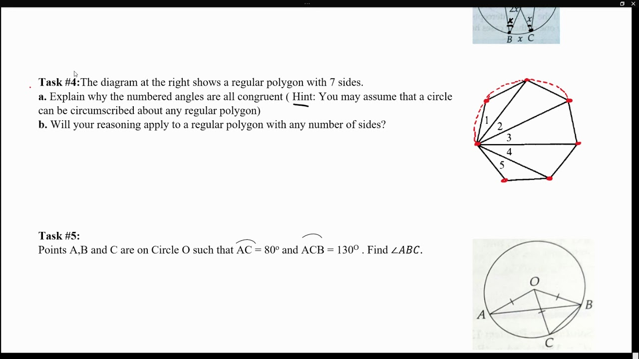 Hints for practice lesson ( Tangents lines, Central Angles ...