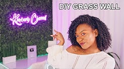 DIY Grass Wall and Neon Sign