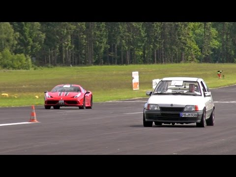 Opel Kadett WKT 685HP blows away Ferrari 458 Speciale + 9ff Porsche 997 Turbo S