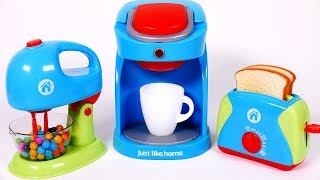 Cooking Breakfast Playset for Children Coffee Machine Toaster and Mixer Kitchen Appliances