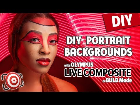 DIY Portraits Backgrounds - Painting with Light using Olympus Live Composite or Bulb Shooting Mode