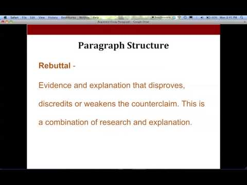 Argument Writing - Body Paragraph Format For High School