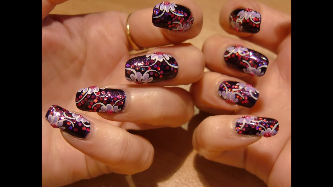dark purple glitter nail art - YouTube