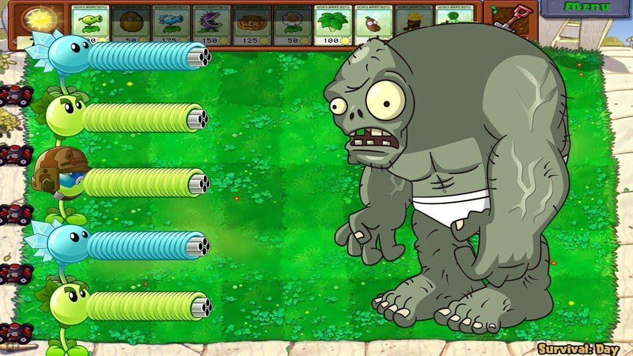 Plants vs Zombies Snow Pea, Gatling Pea, Repeater FIRE vs Gargantuar Zombi