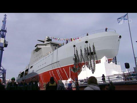 """Новейший корабль для ВМФ России """"Иван Папанин"""" способен выполнять любые военные задачи в Арктике."""