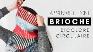 APPRENDRE À TRICOTER LE POINT BRIOCHE BICOLORE CIRCULAIRE