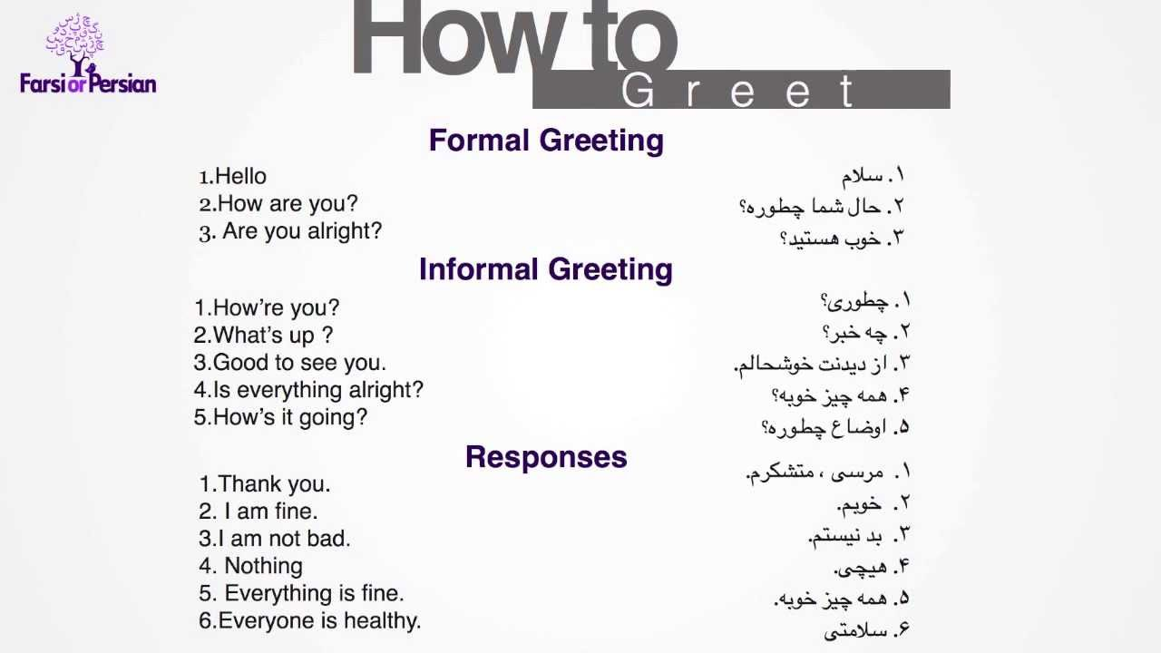 Beginning Persian How To Greet In Persian Youtube