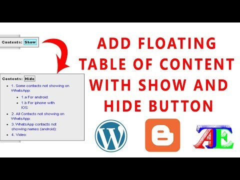 Create Fixed or Floating Table of Contents to Posts or Pages